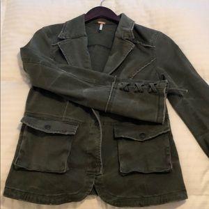 Free People Distressed Army Green Jacket